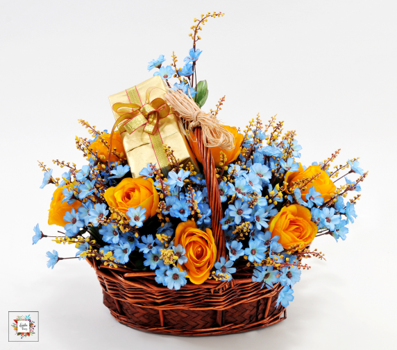Blue Basket (Artificial Flowers)