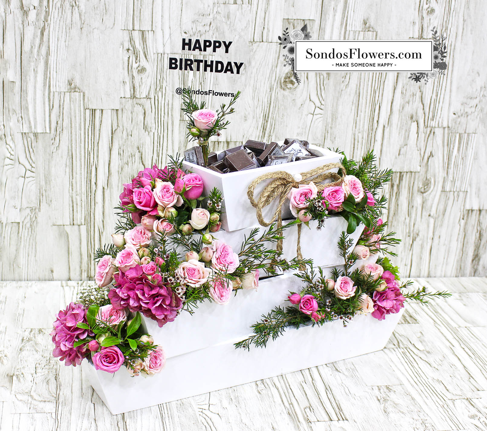Layers Of Flowers Happy Birthday Send Fresh Flowers Gifts Online