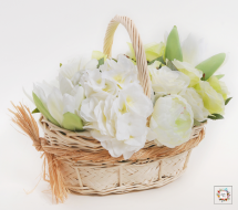 White Basket (Artificial Flowers)